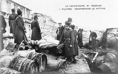 Italian soldiers stand amid the rubble of Messina, Italy after the huge earthquake of 1908.     #TuscanyAgriturismoGiratola