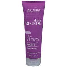 John Frieda Sheer Blonde Color Renue.  The shampoo is purple! Corrects brassy blonde! :) smells amazing!
