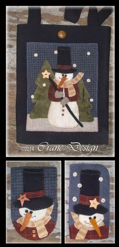 Stovepipe Snowman Pattern ~ Designed & stitched by Jan Mott of Crane Design Penny Rug Patterns, Wool Applique Patterns, Felt Applique, Quilt Patterns, Stitch Patterns, Wool Quilts, Mini Quilts, Crane Design, Snowman Quilt