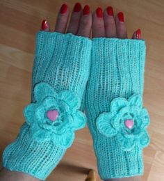 Handknitted Fingerless Mittens With Crochet Flowers by evefashion, £16.00