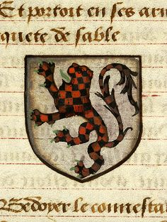 Escutcheon decorated with heraldry of Brunor le Noir (argent, a lion rampant checky sable and gules, armed and langued vert) | Noms, armes et blasons des chevaliers de la Table Ronde | France | ca. 1500 | The Morgan Library & Museum