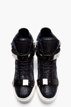 15b947747a6da GIUSEPPE ZANOTTI Black and navy croc-embossed leather London high-tops Nike  Tights,