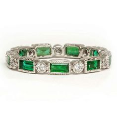 EMERALD BAGUETTE ROUND DIAMOND ETERNITY WEDDING BAND NATURAL GREEN RING VINTAGE  Note: ask seller to have ring sized up (by using the adding stones method) two full ring sizes.