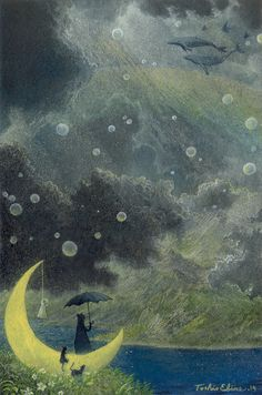 """victoriousvocabulary: """"LUFTMENSCH [noun] someone with their head in the clouds; one more concerned with airy intellectual pursuits than practical matters. an impractical contemplative person having no definite business or income. Arte Robot, Parasols, Umbrellas, Rain Clouds, Fairytale Art, Moon Art, Stars And Moon, Art Inspo, Fantasy Art"""
