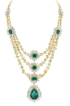 H & D Diamonds is your direct contact to diamond trade suppliers, a Bond Street jeweller and a team of designers.www.handddiamonds... Tel: 0845 600 5557 - Avakian-yellow-diamond-and-emerald-necklace.