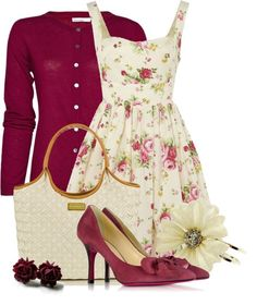 White floral dress, maroon sweater, white shoulder bag, maroon pointed-toe pumps.