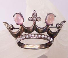 Vintage Sterling Silver Rhinestone Crown Pin by GretelsTreasures, $50.00
