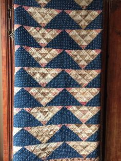 BEST Old vintage antique Brown & Blue Calico Fabric handmade quilt textile AAFA #NaivePrimitive