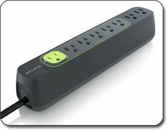 Belkin Conserve Smart AV F7C007q Energy-Saving Power Strip    The green colored Master Outlet senses when your TV is on or off and controls power to five peripheral outlets for your AV components. When you turn your TV off, power to the peripheral components goes off too--including standby power--so no energy is wasted.
