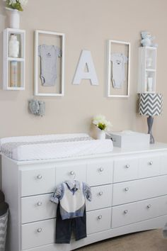 Chic Little Man Nursery   Love The Framed Onesies Over The Changing Table!  Chic Nursery