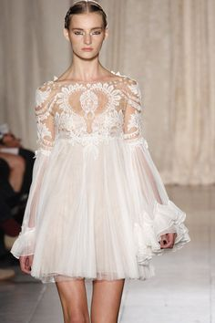 Baroque Romance - sheer ivory, frills, pleats and embroidery