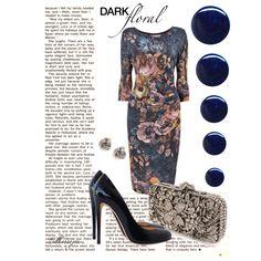 """Dark+floral+dress""+by+marija787+on+Polyvore"