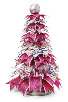 Make It with Joy #Ribbon #Christmas #Tree #Holiday - Cute Christmas craft idea!  And, it's pink!!