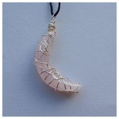 rose quartz crescent moon crystal necklace