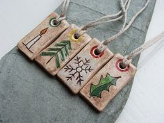 Small Ceramic Yule Christmas Solstice Tags or Tree Decorations - Set of 4 - Season's Greetings/With Love/Merry Yule/Merry Xmas