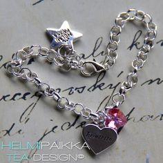 Tekstisydän amuletti Prinsessa ja pinkki Swarovskin kristallisydän <3
