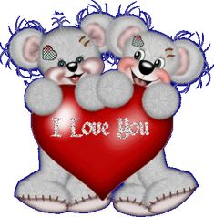 I Love You Glitter Text | creddy bears holding I Love You heart