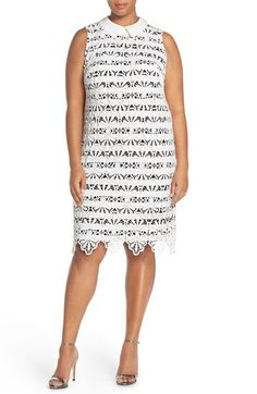 Adrianna Papell Stripe with Lace Overlay Collared Shift Dress available at #Nordstrom