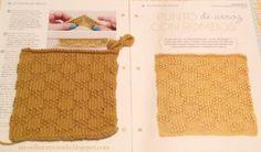 Cuadrado nº 13 de mi manta: PUNTO DE ARROZ CON ROMBOS  #tricotfacilycreativo #punto #knitting #aprendiendoahacerpunto #squares #blanquet