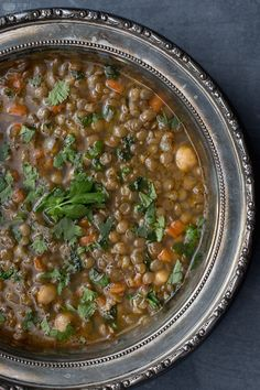 Moroccan lentil soup - hearty winter soup tried it. Moroccan Lentil Soup, Green Lentil Soup, Chicken Lentil Soup, Lentil Soup Recipes, Lentil Stew, Veggie Soup, Vegetarian Recipes, Cooking Recipes, Healthy Recipes