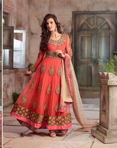 Gajri & Cream Georgette and Net based Semi Stitch Dress Material - JustKartIt