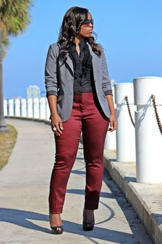 Limited burgundy polka dot pants, curvy chic office outfits, how to wear suiting seperates, grey burgundy and black outfit, how to wear burgundy, curvy fashion blogger
