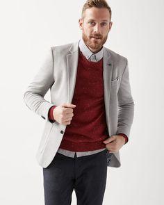 Slim fit pique knit blazer with elbow patch Chinos And Blazer, Mens Chino Pants, Knit Blazer, Casual Blazer, Blazer Dress, Suit Shop, Checked Blazer, Elbow Patches, Blazers For Men