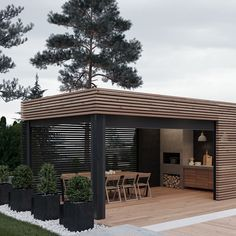 Cooking outdoors at Outdoor Kitchen brings a different sensation. We can use our patio / backyard space to build outdoor kitchen. Outdoor kitchen u. Outdoor Kitchen Design, Patio Design, House Design, Terrace Design, Grill Design, Design Room, Design Hotel, Casas Containers, Design Exterior