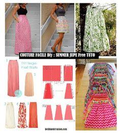 Made in france: Couture Facile Diy : Summer Jupe Free Tuto Dyi Couture, Baby Couture, Couture Sewing, Hijab Fashion, Boho Fashion, Sewing Online, Dress Sewing Patterns, Skirt Sewing, Sewing Basics