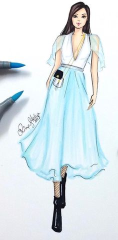 #Springtime #Blue @lanvinofficial by @dimple_asha_illustration #FashionIllustrations  Be Inspirational ❥ Mz. Manerz: Being well dressed is a beautiful form of confidence, happiness & politeness