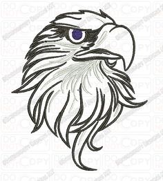 Bald Eagle Head Outline Embroidery Design by EmbroideryDesignsMT, $3.99