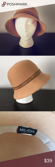 Milana wool felt hat. Made in Italy Camel toned 100% wool hat. Brown leather trim with white stitching. Only worn once but the leather trim is aged Milana Accessories Hats