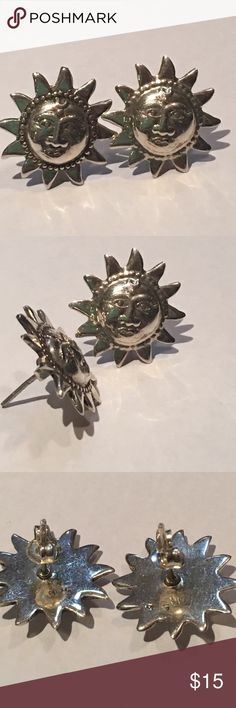Sterling 925 Sun Face Earrings Super cute, 925 sun face earrings!! How fun are these? 😊 nice size too!! Jewelry Earrings