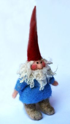 The little needle felted gnome is friend to all animals and protector of nature; he's an adorable nature hero, fun to play with and great for imaginative play. Waldorf inspired tiny doll.   --   Little Needle Felted Gnome by lauraleeburch on Etsy
