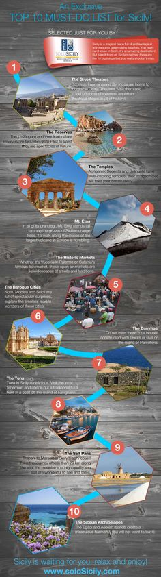 Sicily: an island in the Mediterranean with countless opportunities for adventure, fun and discovery. Where to start? What can't be missed? Planning a holiday in Sicily can sometimes be overwhelming, there is SO MUCH to do and see. That is why soloSicily.com has created this playful infographic, to point you in the direction of what should not be missed. Don't forget, we've grown up on this island! Nobody knows the best spots in Sicily better than us!