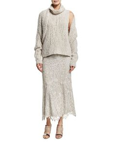 Long-Sleeve Cashmere Shrug, Sleeveless Cashmere Sweater & Slim-Fit Lace Combo Midi Skirt by Donna Karan at Neiman Marcus.