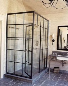 Great use of steel screens to create an internal feature of a shower. #SteelScreens #MetalFrames #InteriorDesign
