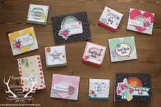 Kartenset Gute-Laune-Grüße von Stampin' Up! in Kombination mit dem Stempelset Erfreuliche Ereignisse  +++++++  Cards with Happy Happenings and Oh Happy Day Card Kit