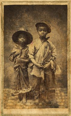Studio portrait of two African American boys, John Heywood photographer, New Berne, N.C., 1865. | Early Pictures