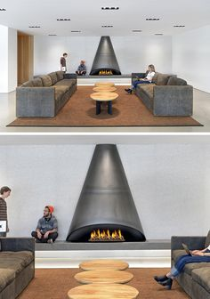 Modern Fireplace Surround Ideas - This cone-shaped black steel design would look great in any living room
