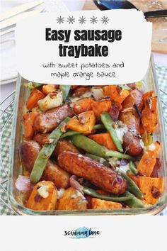 This one pan sausage traybake with sweet potatoes combines a humble sausage and mash with the fancy flavours of maple, orange and pecans. On the table in just 45 minutes. Stove Top Recipes, Easy Meat Recipes, Slow Cooker Recipes, Healthy Recipes, Easy Meals For Two, Quick Easy Meals, Sausage Tray Bake, Potted Meat Recipe, Sausage And Mash