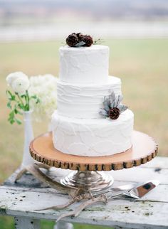 leaf print wedding cake by Christa Garvis Cakes