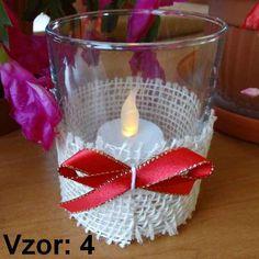 Svietnik sklenený s mašľou - Sviečka - S čajovou sviečkou LED (plus 1€), Vzor - Vzor 4
