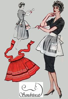 1950s McCalls Sample APRON 50s Vintage Sewing pattern One Size Uncut