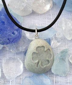 Lucky four leaf clover - Marthas Vineyard Beach Stone Pendant | castastone - Jewelry on ArtFire