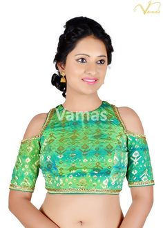 ef14490a208eb Woven Art Silk Jacquard Blouse in Green and Light Blue