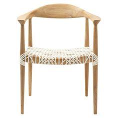 Safavieh Fes Arm Chair - White/Teak - shows more content