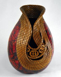 Gourd Art by Judy Richie Inspiration for paper mache r clay....red n copper with the necklace detailing...
