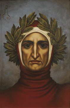 Dante Alighieri by Nikolay Konstantinovich Kalmakov. Made of oil on cardboard.  The ancient custom of using laurel wreaths on one's head, is linked to the Greek god Apollo. He is represented wearing a laurel wreath on his head. In ancient Greece wreaths were awarded to victors in athletic competition and in poetic contests; in Rome they were symbols of martial victory.