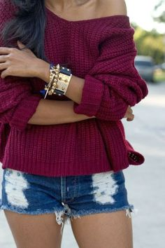 Burgundy Sweater  minus the Hoochie Shorts